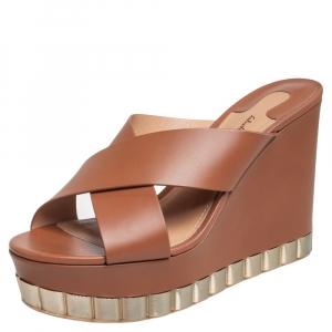 Salvatore Ferragamo Brown Leather Nicosia Wedge Platform Cross Strap Sandals Size 39 - used