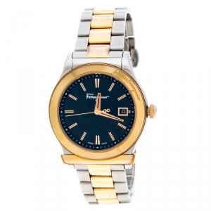 Salvatore Ferragamo Black Sunray Two Tone Stainless Steel F62 Women's Wristwatch 40MM