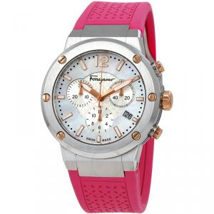 Salvatore Ferragamo Mother of Pearl Stainless Steel F-80 Women's Wristwatch 39MM