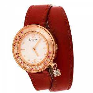 Salvatore Ferragamo Cream Gold Plated Stainless Steel Firenze F64 Women's Wristwatch 36 mm