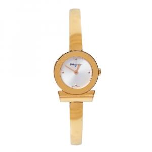 Salvatore Ferragamo Silver Gold Tone Stainless Steel Gancino FQ5 Women's Wristwatch 22 MM
