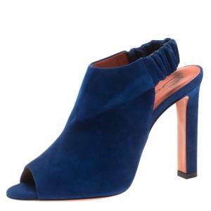 Santoni Blue Suede Backstrap Peep Toe Sandals Size 40