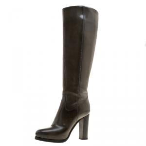 Santoni Khaki Patent Leather Heel Boots Size 37.5