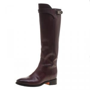 Santoni Burgundy Leather High Boots Size 37.5