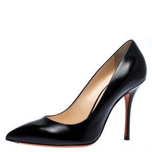 Santoni Black Leather Pointed Toe Pumps Size 38.5
