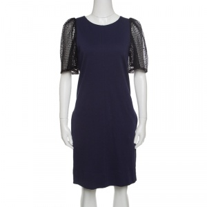 See by Chloe Navy Blue Jersey Contrast Lace Sleeve Dress S - used