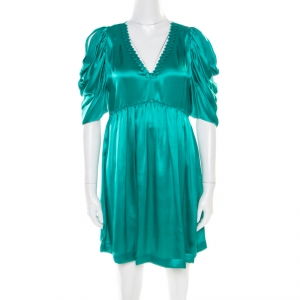 See by Chloe Green Plunge Neck Applique Detail Satin Dress S - used