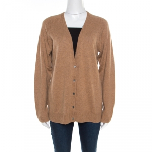 Paul and Joe Camel Brown Cashmere Rib Knit Button Front Cardigan S