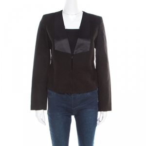 See by Chloe Black Textured Cotton Satin Faux Lapel Collarless Blazer S