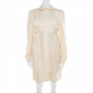 See by Chloe Beige Wool Pintuck Detail Belted Long Sleeve Dress S