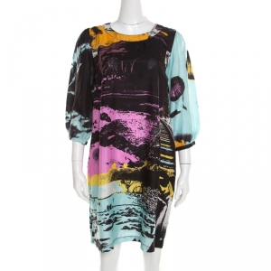 See by Chloe Multicolor Abstract Printed Silk Long Sleeve Shift Dress M - used