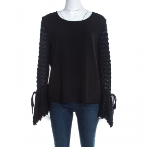 See by Chloe Black Knit Flared Crochet Sleeve Detail Top L