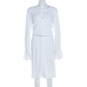 See By Chloe White Powder Lace Trim  Long Sleeve Smocked Waist Dress L