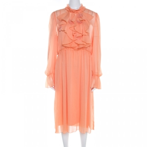 See by Chloe Evening Orange Crepe Georgette Floral Appliqué Ruffled Midi Dress M