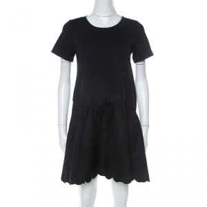 See by Chloe Black Cotton Scallop Hem Dress S