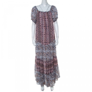 See by Chloe Multicolor Floral Printed Cotton Off Shoulder Maxi Dress M - used