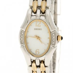 Seiko Mother of Pearl Two Tone Stainless Steel Women's Wristwatch 20 mm