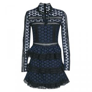 Self Portrait Navy Blue and Black Star Pattern Lace High Neck Tiered Dress M
