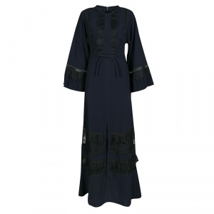 Self Portrait Navy Blue Lace Trim Olivia Kaftan Maxi Dress S