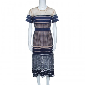 Self-Portrait Navy Blue Stripe Embroidered Mesh Column Midi Dress M