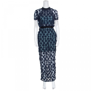Self Portrait Navy Blue Floral Applique Lace 60's Overlay Maxi Dress S