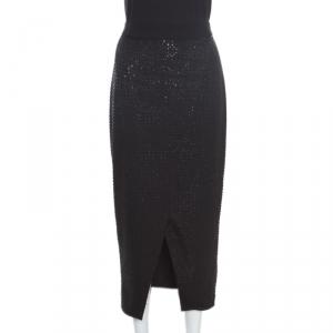 Self Portrait Black Sequined Wrap Front Midi Skirt M