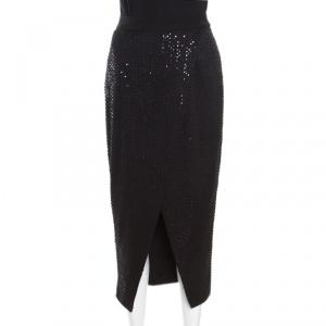Self Portrait Black Sequined Wrap Front Midi Skirt S