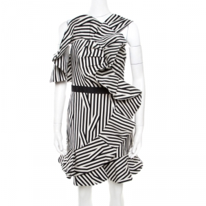 Self Portrait Monochrome Multi Direction Striped Asymmetric Ruffled Dress M