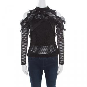 Self Portrait Black Purl Knit Pattern Lace Ruffle Trim Cold Shoulder Top M