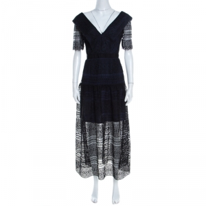 Self Portrait Black Guipure Lace Overlay Midi Dress S