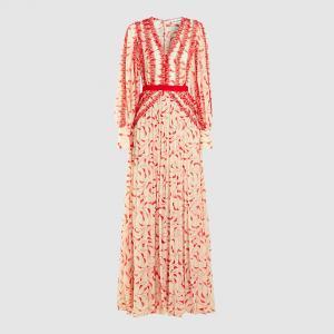 Self-portrait Red Crescent Printed Chiffon Maxi Dress Size UK 12