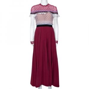 Self-Portrait Burgundy Bellis Lace Trim Maxi Dress M