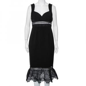 Self-Portrait Black Crepe Lace Trim Detail Olivia Midi Dress L