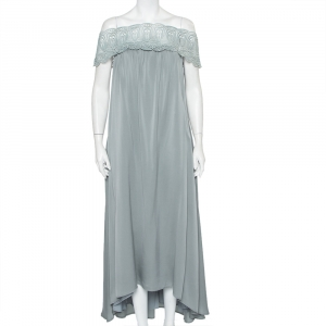 Self-Portrait Grey Crepe Lace Trim Off Shoulder Maxi Dress M