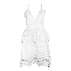Self Portrait White Lace Trim Detail Sleeveless Peplum Dress M