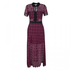 Self Portrait Burgundy Contrast Trim Detail Embroidered Lace Dress S