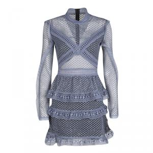 Self Portrait Dove Grey Dotted Mesh Tiered Long Sleeve Dress S