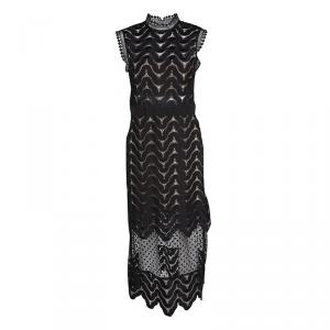 Self Portrait Black Wave Pattern Lace Open Back Detail Midi Dress M