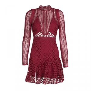 Self Portrait Raspberry Red Hall Lace Long Sleeve Dress S