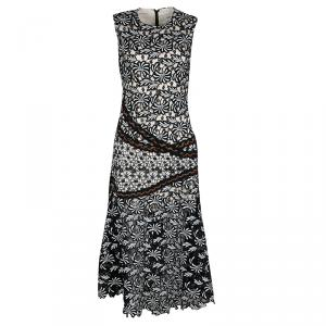 Self Portrait Monochrome Mixed Lace Antoinette Sleeveless Midi Dress M