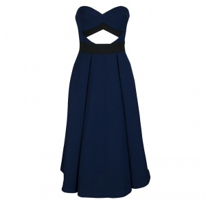 Self Portrait Navy Blue Cutout Detail Strapless Lulu Dress S