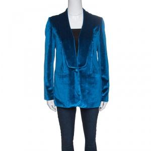 Self Portrait Peacock Blue Velvet Tailored Blazer S