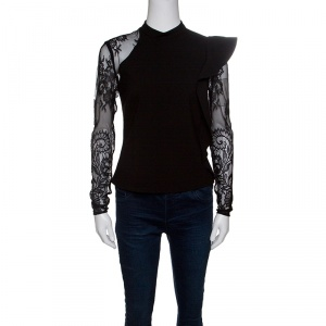 Self Portrait Black Knit Lace Sleeved Ruffled Ophelia Blouse S