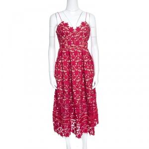 Self Portrait Red Floral Guipure Lace Noodle Strap Azaelea Midi Dress M