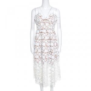 Self Portrait White Floral Guipure Lace Noodle Strap Azaelea Midi Dress M