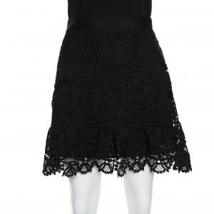 Self Portrait Black Floral Guipure Lace Peplum Mini Skirt M