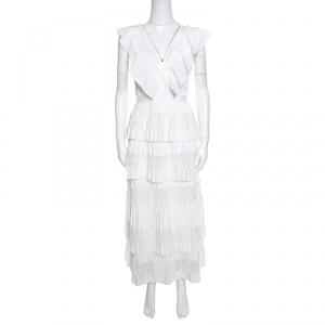 Self Portrait White Flounced Tiered Lace Sleeveless Victoria Midi Dress L