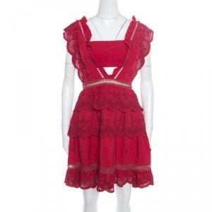 Self Portrait Raspberry Red Eyelet Embroidered Tiered Sleeveless Peplum Dress M