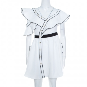 Self Portrait White Cotton Silk Contrast Piping Detail Asymmetric Shoulder Frill Dress S