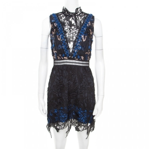 Self Portrait Black and Blue Floral Sequined Guipure Lace Sleeveless Clementine Mini Dress S